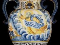 Anfora da farmacia con la creazione, Castelli, attribuito a bottega di Orazio Pompei, fine del '500