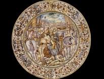 Francesco Grue, piatto con Alessandro Magno che copre il nemico defunto Dario, Castelli, XVII secolo