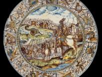 Francesco Grue, piatto con Attilio Regolo che combatte il serpente africano, Castelli, 1640-1645