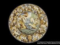 Carlo Antonio Grue, piatto con il ratto d'Europa, Castelli, ottavo decennio del XVII secolo