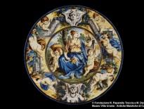 Carlo Antonio Grue, piatto fondo con allegoria della speranza, Castelli, inizio del xviii secolo
