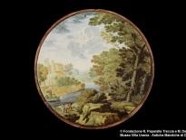 Carlo Antonio Grue, tondo con paesaggio, Castelli, fine del XVII-inizio del XVIII secolo