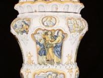 Gesualdo Fuina, vaso con immagini sacre e profane rocaille, Castelli, XIX secolo