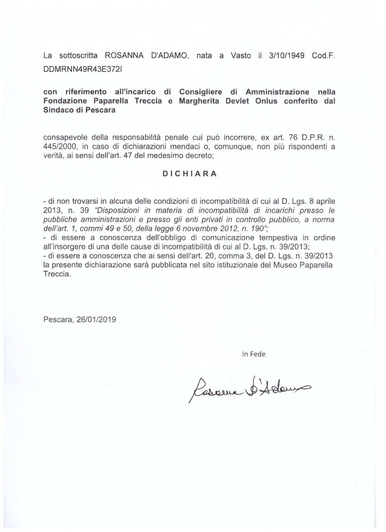 Dichiarazione D'Adamo 2019