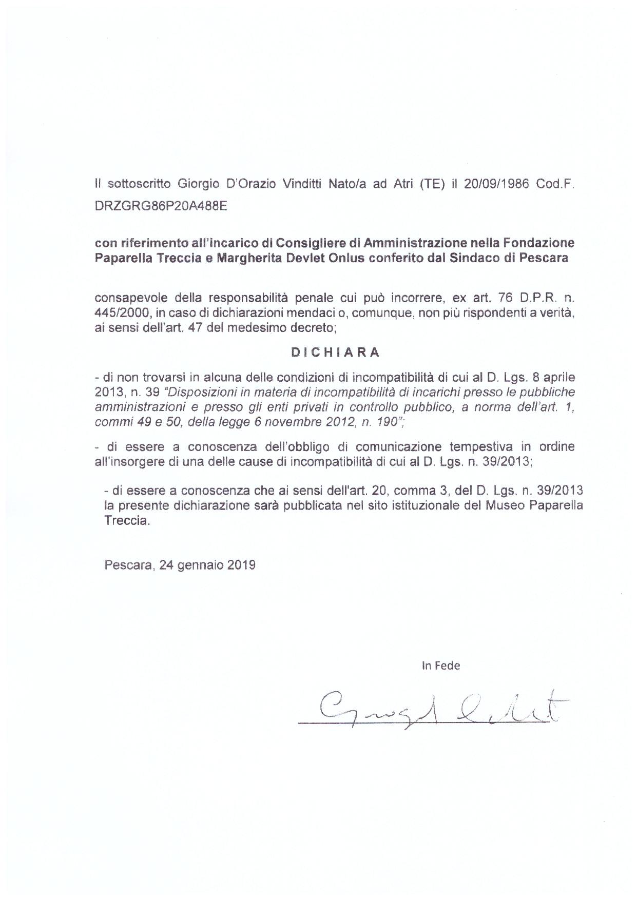 Dichiarazione D'Orazio 2019