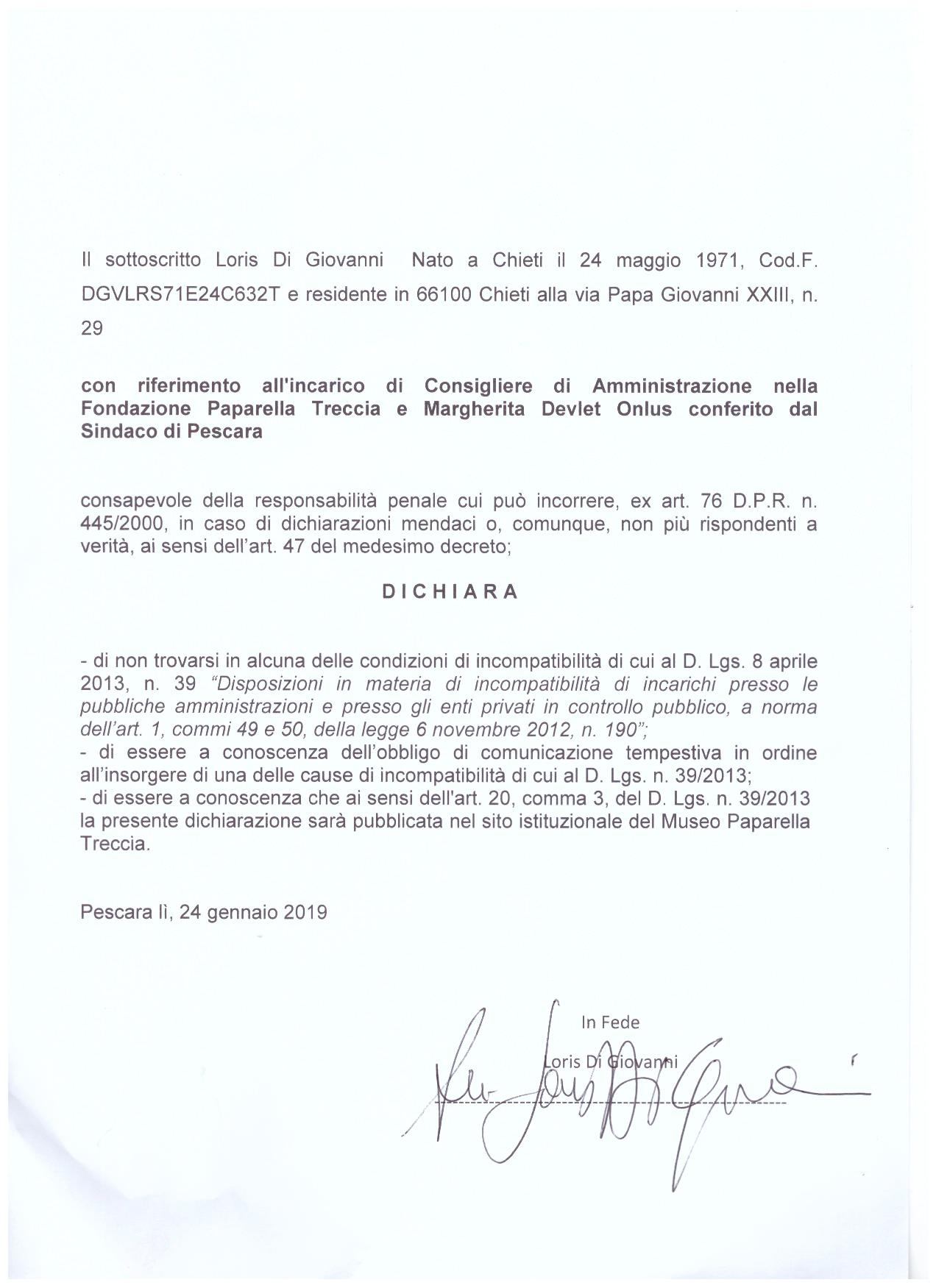 Dichiarazione Di Giovanni 2019