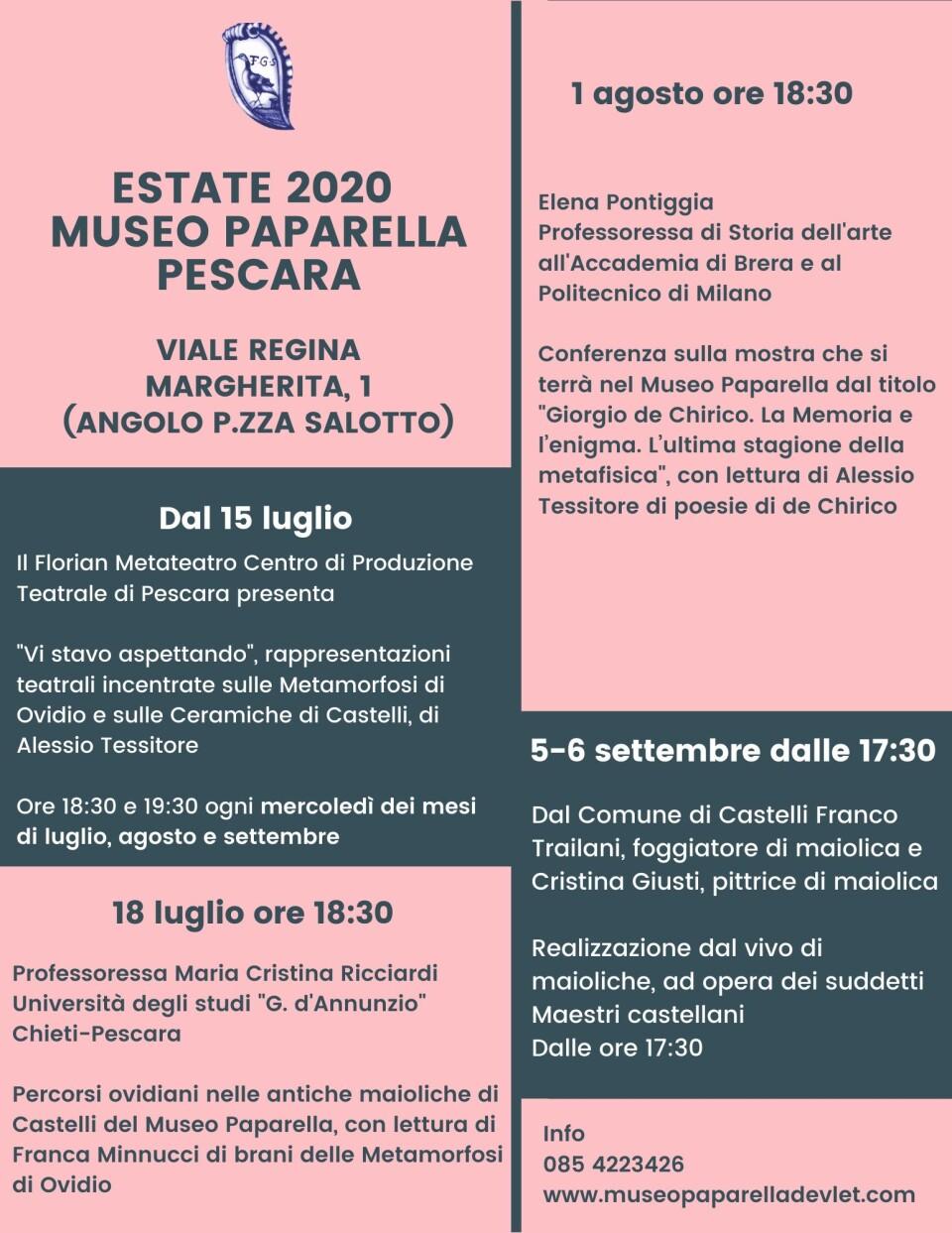 Locandina eventi estivi 2020